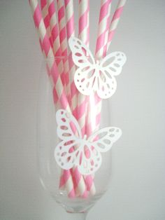 Rosa e Branco : Mini Borboletas Brancas - 10 und