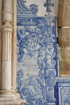 Tile work on the entrance to the Monastery of Sao Bernardo, located in the parish of St. Lawrence, the town of Portalegre, Portugal.