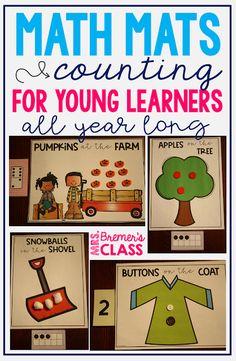 Math Mats for All Year Long Number Sense Kindergarten, Kindergarten Math Activities, Maths, Division Math Games, Math Graphic Organizers, Ten Frames, Math Numbers, Math Notebooks, 1st Grade Math