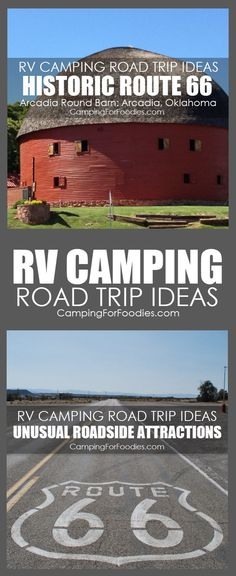 These exciting RV Camping Road Trip Ideas With Unusual Roadside Attractions include destinations across the U.S. Enjoy a travel adventure with these fun ideas for kids of all ages. The United States has so many road trips, historic Route 66, fantastic National Parks and road trip camping destinations across America for traveling in a car with a tent, camper, trailer, RV or massive motorhome! CampingForFoodies has free printables with simple kid friendly camp trip tips and recipes!