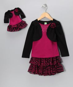 Take a look at this Fuchsia & Black Zebra Long-Sleeve Set & Doll Outfit - Girls by Dollie & Me on #zulily today!