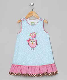 Take a look at this Light Blue Owl Swing Jumper - Toddler & Girls by Candyland on #zulily today!