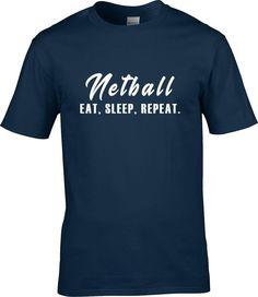 Eat Sleep Netball Repeat, netball gift, Humor Tee, eat sleep repeat, netball, netball dad, netball mom, boys girls men women tee t-shirt by RingAndDonut on Etsy