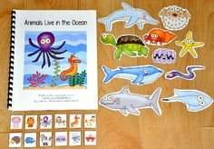 """Animals Live in the Ocean"" Adapted Song Book--Adapted Song Books teach common vocabulary words through songs. ""Animals Live in the Ocean,"" teaches ocean animal themed vocabulary words, and is sung to the familiar tune, ""She'll Be Coming Around the Mountain."" Students match the pictures and sing along as the teacher or therapist sings the song and moves through the pages. After the song is complete, students engage in a sorting activity that focuses on classifying ocean animals."
