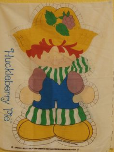 Huckleberry Pie Vintage 1980 Strawberry Shortcake Fabric Panel - front and back, to make a pillow or rag doll, $7.99