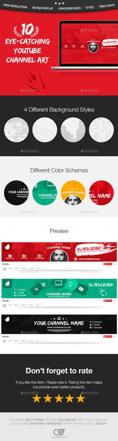 10 Multipurpose YouTube Channel Art Cover Template PSD. Download here: http://graphicriver.net/item/10-multipurpose-youtube-channel-art/8794010?ref=ksioks