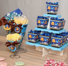 Under the Sea Critters Candy Buffet - candy centerpeices as well as treat boxes.  #BigDot  #HappyDot  #undertheseaparty