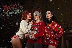 based on Christmas arts Christina Fink as Triss Iris as Yennefer Toph as Ciri photo by me
