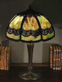 Signed Empire Lamp Co. Crochet Design Slag Glass Lamp