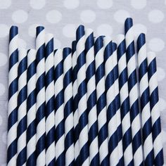 These should be purchased. Navy striped straws.  Could they be more nautical?!