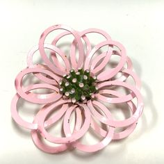 Funky MOD 60's Pink Enamel Flower Brooch Pin  Available at Dellagraces Vintage Jewelry on Ebay