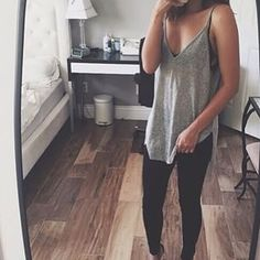 Basic day, bralette with cut of grey shirt and black jeans