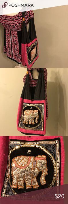 Pink Elephant purse ♥️ Pink elephant shoulder purse, single button closure, bead + Sequin details, gently used condition as pictured, has a zipper pocket & is unlined!   Measurements taken lying flat! 💕 & are Approximate:  Drop strap: 14.5 inches  Top to bottom: 10 inches  Side to side: 13 1/4 inches  Width: roughly,  5 inches No brand Bags Shoulder Bags