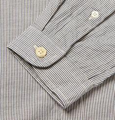 Oliver Spencer Slim-Fit Striped Grandad Collar Shirt