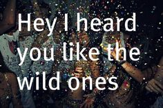 I am a wild one, break me in...(Flo Rida ft. Sia - Wild Ones)