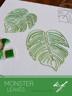 Monster Leaves hand embroidery pattern delicious monster