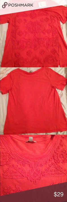 Lucky embroidered coral T-shirt Lucky Brand embroidered design T-shirt.  Comes in multiple sizes, beautiful coral color. Brand new with tags Lucky Brand Tops Tees - Short Sleeve