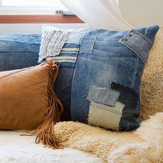 Cuscino Patchwork Neko / Denim cotone canapa tessile africano