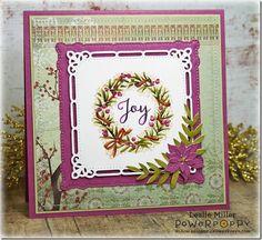 Wreaths Plain & Fancy stamp set by Power Poppy, card design by Leslie Miller.