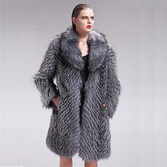 Long Sleeve Turndown Fox Fur Party/Casual Coat – USD $ 2,699.99