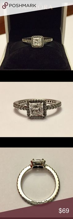 Authentic Pandora Timeless Elegance Ring size 7-54 Sterling Silver with Cz's. Hallmark Stamp S 925 ALE. The Pandora Hinged Box is included. No Trading.. Thank you. Pandora Jewelry Rings