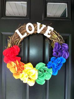 beautiful pride wreath gay pride by jennyCmoon on Etsy, $43.00