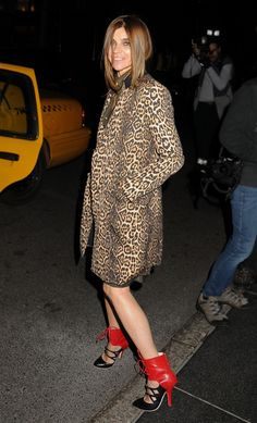 Leopard and red ....Carine Roitfeld.