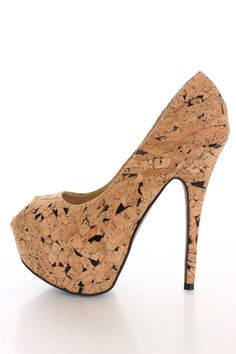 Black Cork Platform Pump Heels