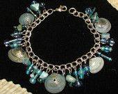 Beautiful blue shell and beaded bangle bracelet