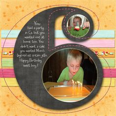 Cute Six Birthday Page...Porkchops mom - Scrapjazz. Love the use of photos on the number six.