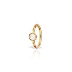 <j>VENUS BY MARIA TASH</j></br>6 MM SCALLOPED SET DIAMOND HOOP EARRING IN YELLOW GOLD