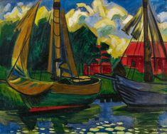 Max Pechstein (Germany 1888-1955)  Zwei Kutter im Hafen von Leba - Two Cutters in the port of Leba (1922)  oil on canvas