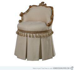 Skirted Vanity Table | 15 Skirted Traditional Vanity Chairs | Home Design Lover