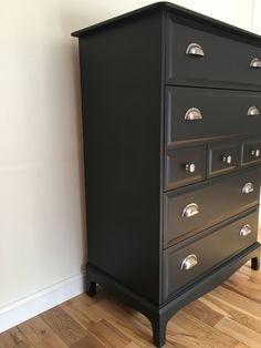 Matt Black Chest Side/Front View Stag Furniture, Black Furniture, Painted Furniture, Black Chest Of Drawers, Black Dressers, Gold Dresser, Dresser Drawers, Feng Shui Gold, Upcycled Furniture Before And After