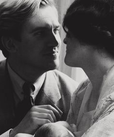 Matthew and Lady Mary Crawley of Downton Abbey.  Their last scene together, a beautiful, sweet few minutes after their son's birth and before Matthew's tragic death.