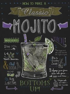 "Chalkboard Art - ""Mojito"" wall art by Fiona Stokes-Gilbert available at Great BIG Canvas. Party Drinks, Cocktail Drinks, Cocktail Recipes, Alcoholic Drinks, Vodka Cocktails, Beverages, Mojito Ingredients, Chalkboard Signs, Chalkboards"