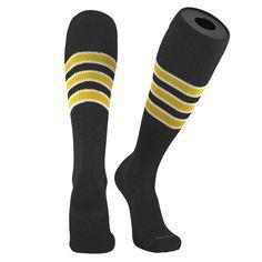 58bb41ac1 TCK Pro Elite Pirates BlackWhiteGold Knee-High Long Striped Socks Baseball  Socks