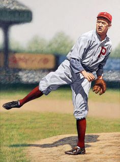 """The work of Arthur K. Miller is often referred to as """"The Art of the Game."""" This painting is of Grover Cleveland Alexander (in Phillies uniform) Baseball Posters, Baseball Star, Sports Baseball, Baseball Cards, Sports Pics, Baseball Painting, Grover Cleveland, Philadelphia Sports, Baseball Pictures"""