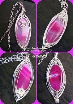 Różowe Szczęście :) Wisiory w technice wire wrapping - owinięte plastry agatu.