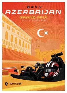 Renault Sport Team poster van Grand Prix in Azerbeidzjan Vintage Racing, Vintage Ads, Vintage Posters, Formula 1, Nascar, Sport F1, Motor Sport, Stock Car, Baku City