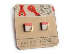 Porcelain square stud earrings red white gold small by decoSQUARE