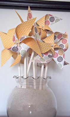 Wedding Paper Pinwheels Yellow Polka Dots Unique by KlipsNscraps, $21.00