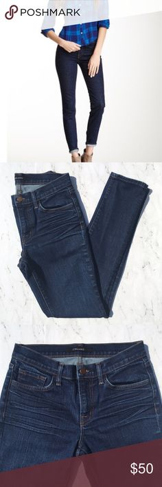 """J Brand Jeans Size 27 Inseam 26"""" Skinny in Daphne This is a pair of J Brand Skinny Leg Jeans • Size: 27 • Color: Blue / Daphne / Dark Wash • Excellent used condition • Skinny • Mid rise • Stretch • 5-pocket • Made of 98% Cotton 2% Elastane • Machine wash • Made in USA • Sty#  80011C012 • RN# 117965 • Approx measurements: Waist: 28"""". Hip: 36"""". Inseam: 26"""". Front rise: 8 1/2"""". Back rise: 14"""". Leg opening: 11"""" • J Brand Jeans Skinny"""