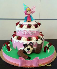 Sofia Birthday Cake, Girl Birthday Themes, 6th Birthday Parties, Baby First Birthday, Marsha And The Bear, Teddy Bear Cakes, Rainbow Cupcakes, 3d Cakes, Girl Cakes