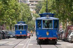 Blue tram - Tranvia Blau - to Tibidabo Funicular - Barcelona Catalonia.