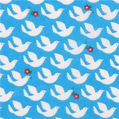 Tissu laminé bleu avec des oiseaux blancs, importé du Japon