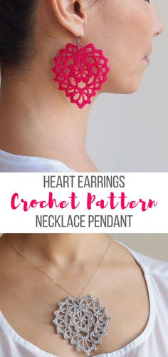 This is a crochet pattern that can be used for crochet heart earrings or a crochet heart necklace pendant #crochetearrings #crochetheartpattern #crochetheartnecklace #crochetpatternearrings