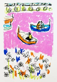 Isabella Cotier's illustrations have been translated to screen print 'The Pink Pond' Exclusively available from Print Club London unframed! Artwork Prints, Framed Prints, Pattern Sketch, Sketchbook Project, Studio Ghibli Art, London Clubs, Illustration Sketches, Freelance Illustrator, Magic Carpet