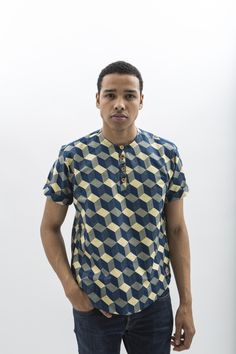 Manjai African Wax Print T-shirt for Men by JEKKAH - find them now on www.jekkah.com Ghana Fashion, Batik Fashion, African Print Fashion, African Fashion Dresses, African Dress Styles For Men, African Attire For Men, African Wear, African Print Shirt, African Shirts