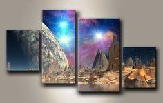 MH_36160129 / Cuadro Paisaje, luna, Aurora y Estrellas